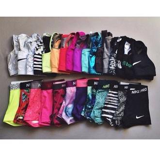 shorts nike pro shorts nike free run running shoes workout sports bra workout top