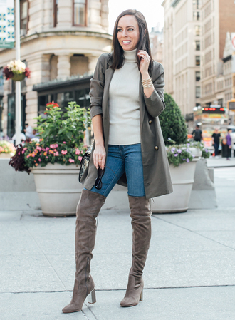 sydne summer's fashion reviews & style tips blogger jacket jeans bag jewels shoes fall outfits boots grey boots over the knee boots trench coat grey coat
