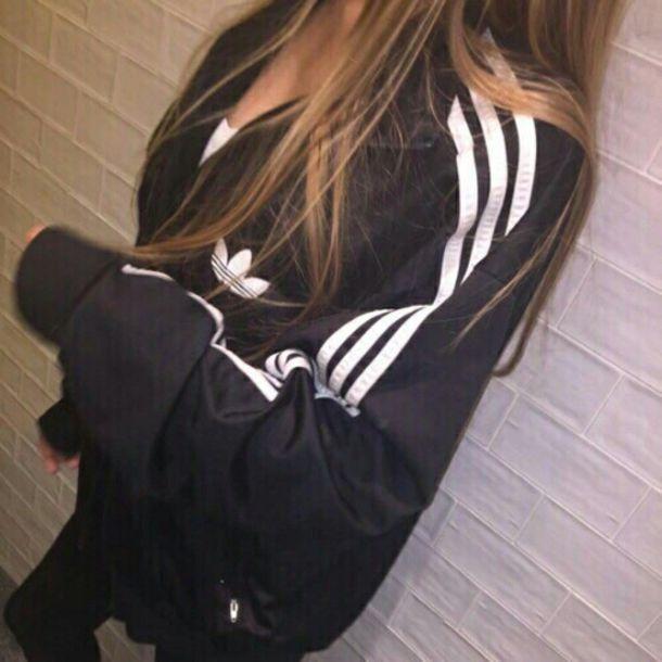 jacket adidas black windbreaker black and white white tumblr aesthetic