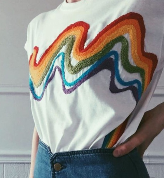 t-shirt white rainbow embroidered