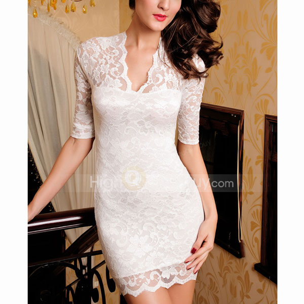 Sexy Unique White V-neck Slim Lace Polyester Women Club Dress_$21.99