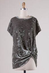 top,moss,velvet,gathered hem,twisted hem,t-shirt