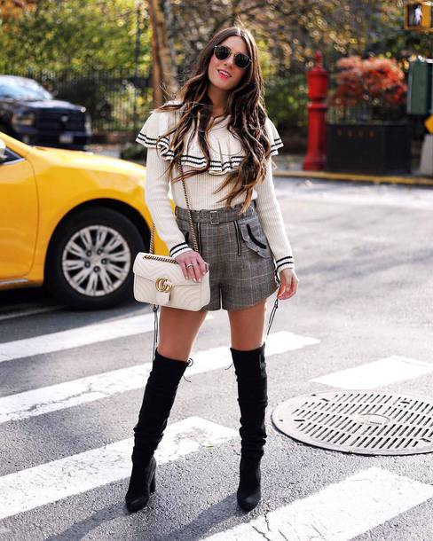 sweater tumblr knit knitwear knitted sweater ruffle ruffle sweater shorts boots black boots over the knee boots over the knee bag