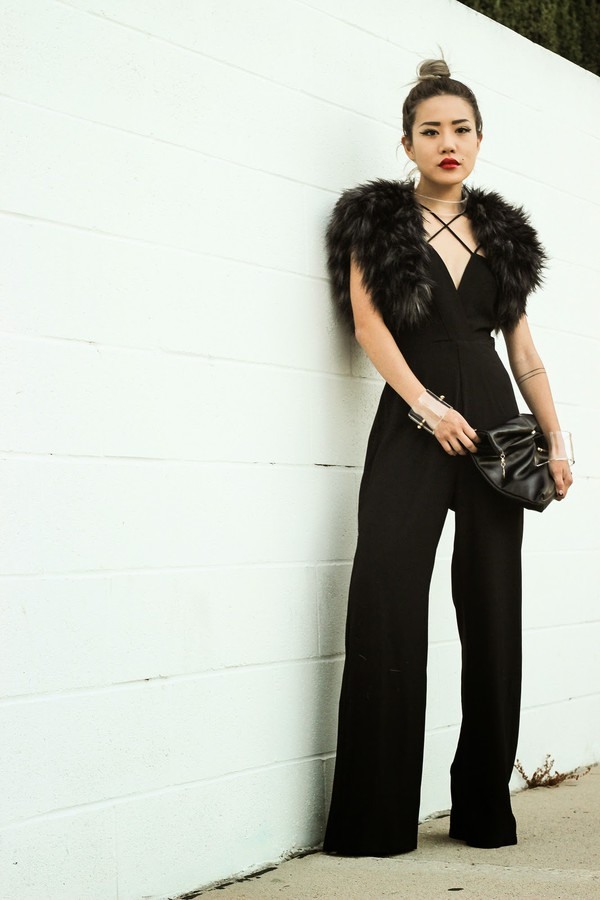 feral creature blogger jumpsuit t-shirt jewels bag palazzo jumpsuit