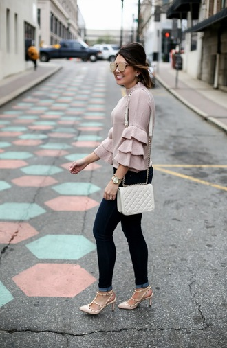 life & messy hair blogger sweater sunglasses jeans jewels bag shoes bell sleeve sweater pink sweater winter outfits high heel pumps pumps