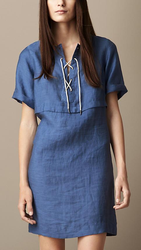 Tie-Front Linen Blend Dress | Burberry