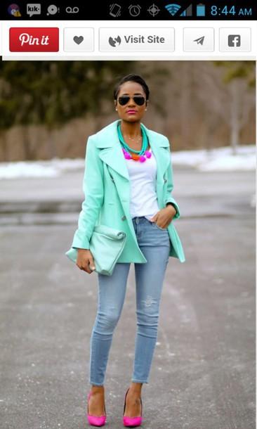 jacket tiffany blue pink shoes