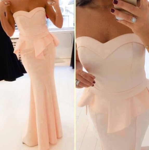 peplum dress formal dress long formal dress long dress bustier dress strapless gown elegant strapless peach dress nude gown dress coral dress