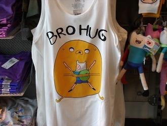 shirt adventure time tank top bro hug jake finn white adventure t-shirt cute top
