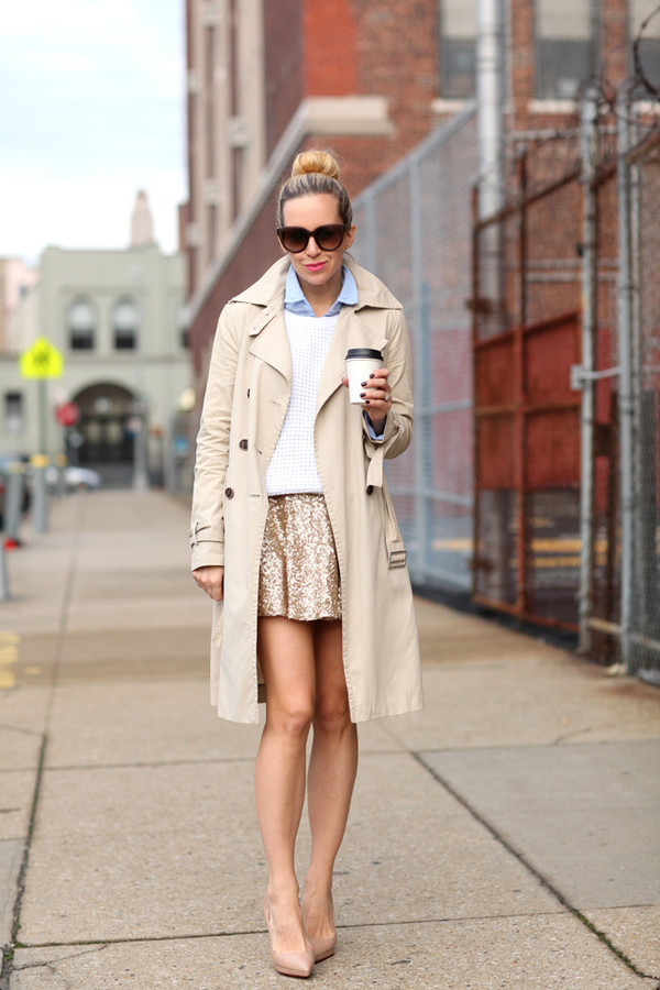 brooklyn blonde coat t-shirt sweater skirt shoes