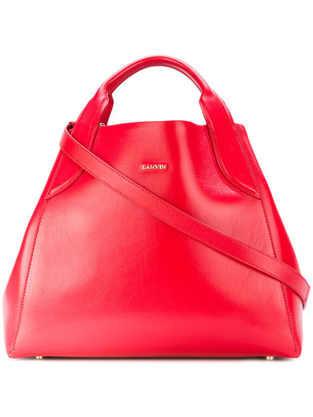 Lanvin - Cabas tote bag - women - Calf Leather - One Size, Red, Calf Leather