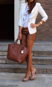 shorts,leather,brown shorts,leather shorts,coat,shoes,bag,brown,blazer
