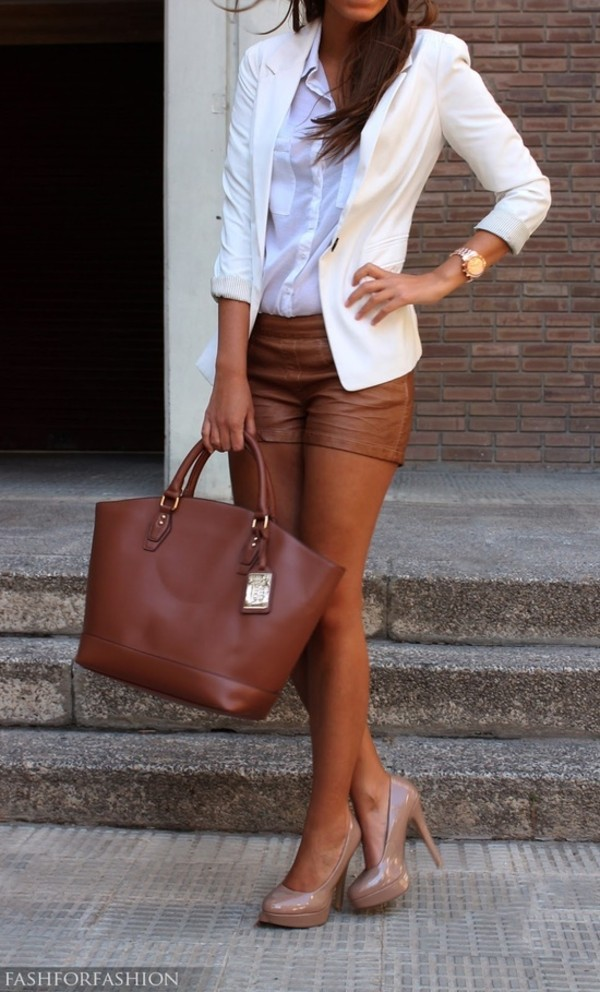 shorts leather brown shorts leather shorts coat shoes bag brown blazer