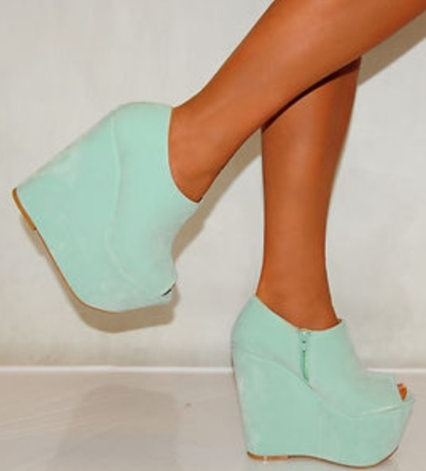 Ladies Womens Suede Mint Green Platforms Ankle Boots Peep Toes ...
