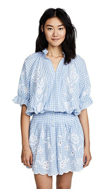 Juliet Dunn dress mini dress mini embroidered gingham blue