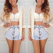 t-shirt,long cardigan,shorts,sweater,blouse,tank top,shoes,jacket,crop tops,lace,underwear,bralette,shirt,white,pants,blue,jeans,high,short,top,High waisted shorts,pretty,crop,buttons,summer,lace shirt,white shirt,white lace shirt,hot pants,fashion,bustier,mini shorts,sun,classy,hot,cardigan