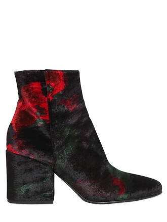 boots ankle boots velvet black green red shoes