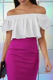 top,white,cute,trendy,fashion,style,off the shoulder,girly,summer,spring,crop tops