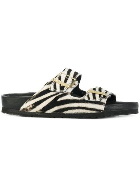 Birkenstock fur women animal sandals leather white print animal print shoes