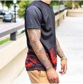 shirt black t-shirt roses jersey mens t-shirt