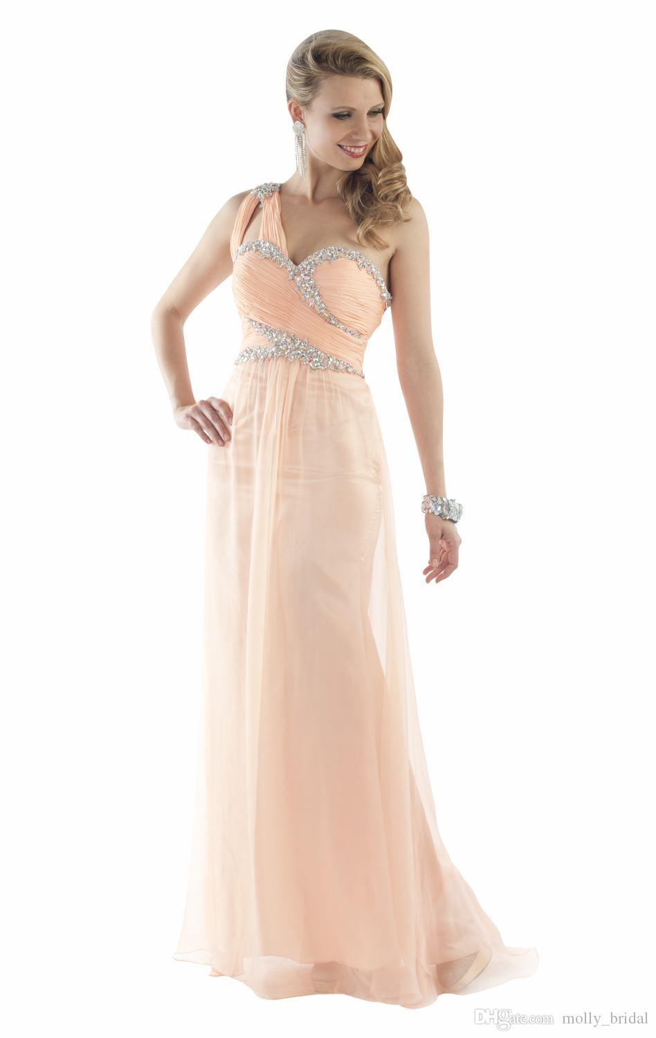 charming one shoulder prom dresses coral color crystals beaded pleats draped sexy open back evening gowns party