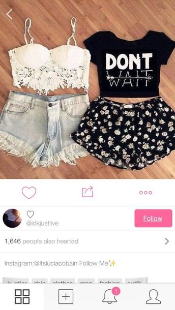 top shorts t-shirt outfit tumblr bralette
