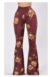 pants,burgundy,flower patter,black leather crop flared pants