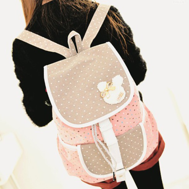 Bag backpack cute polka dots brown pink white pink backpack brown backpack white polka Korean style fashion girl bag