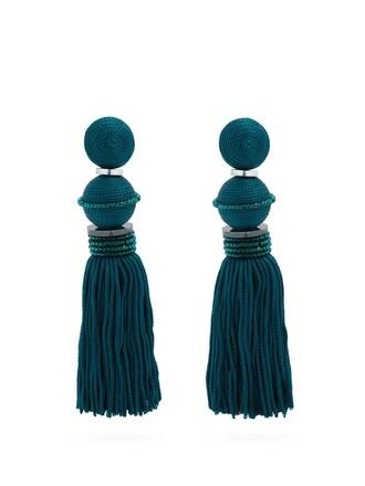 tassel embellished earrings blue jewels