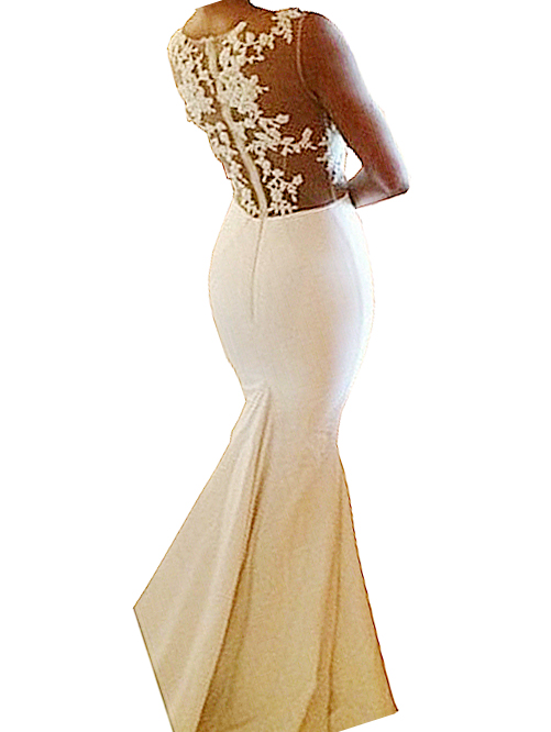 Sheer tulle lace pattern sleeveless mermaid dress with train white