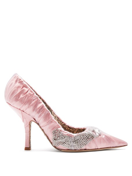 PACIOTTI BY MIDNIGHT embellished satin pink shoes