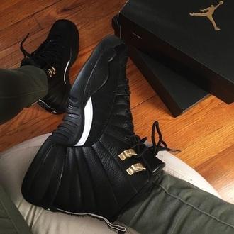 shoes jordans jordans 12 black gold sneakers white