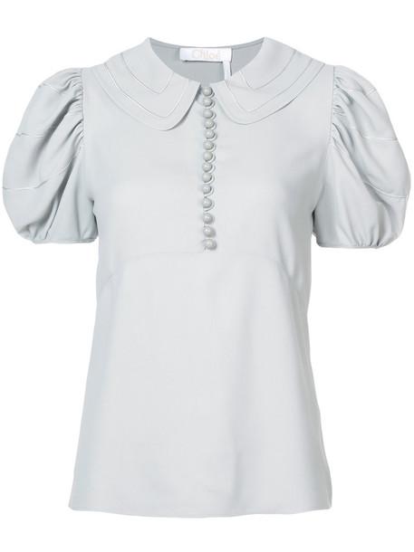 blouse women silk grey top