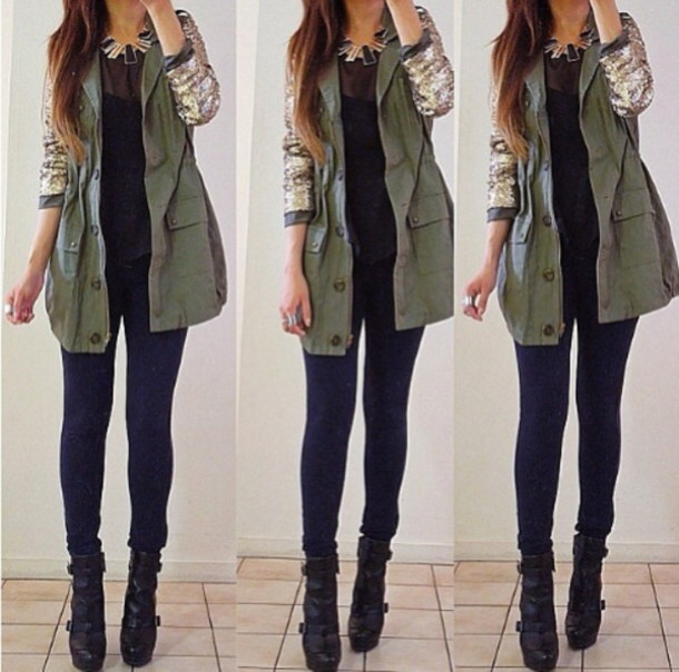Jacket: coat, green, winter outfits - Wheretoget