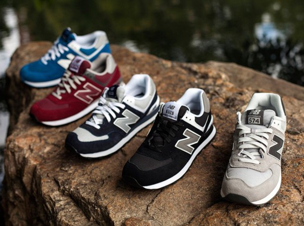 855b0b02177f shoes, old school, new balance, suede, red, grey, blue, sneakers ...