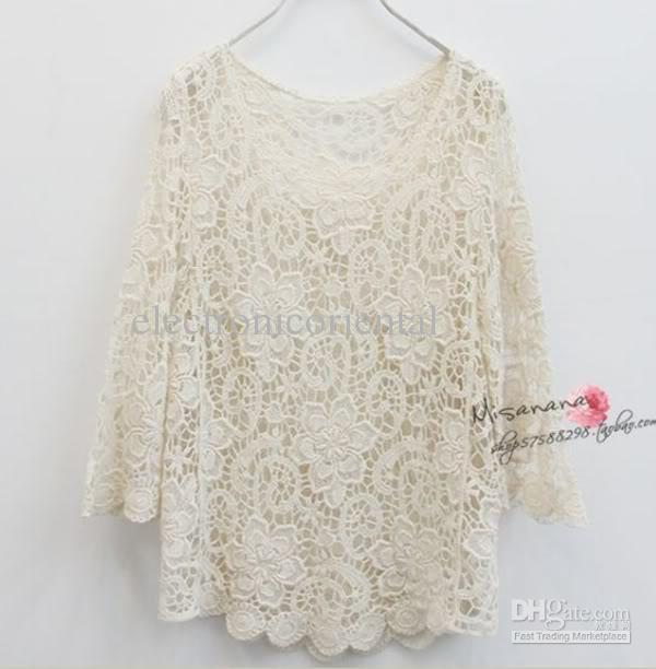 Buy elegant ladies crochet flower lace top women knit blouse s m beige #t9w, $17.81
