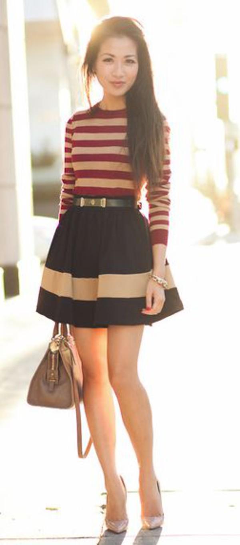skirt skirt cute skirt stripes black white