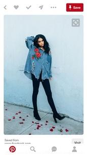 jacket,roses,jeanjacket denim denimjacket,ripped jeans