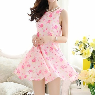 dress kawaii cute pink girly pink mini dress pink dress girly dress cute dress necklace silver bracelets korean fashion asian flowers
