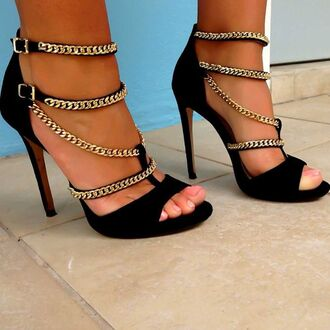 shoes black gold black and gold heels high heels black high heels black heels strappy strappy heels chain straps open toes