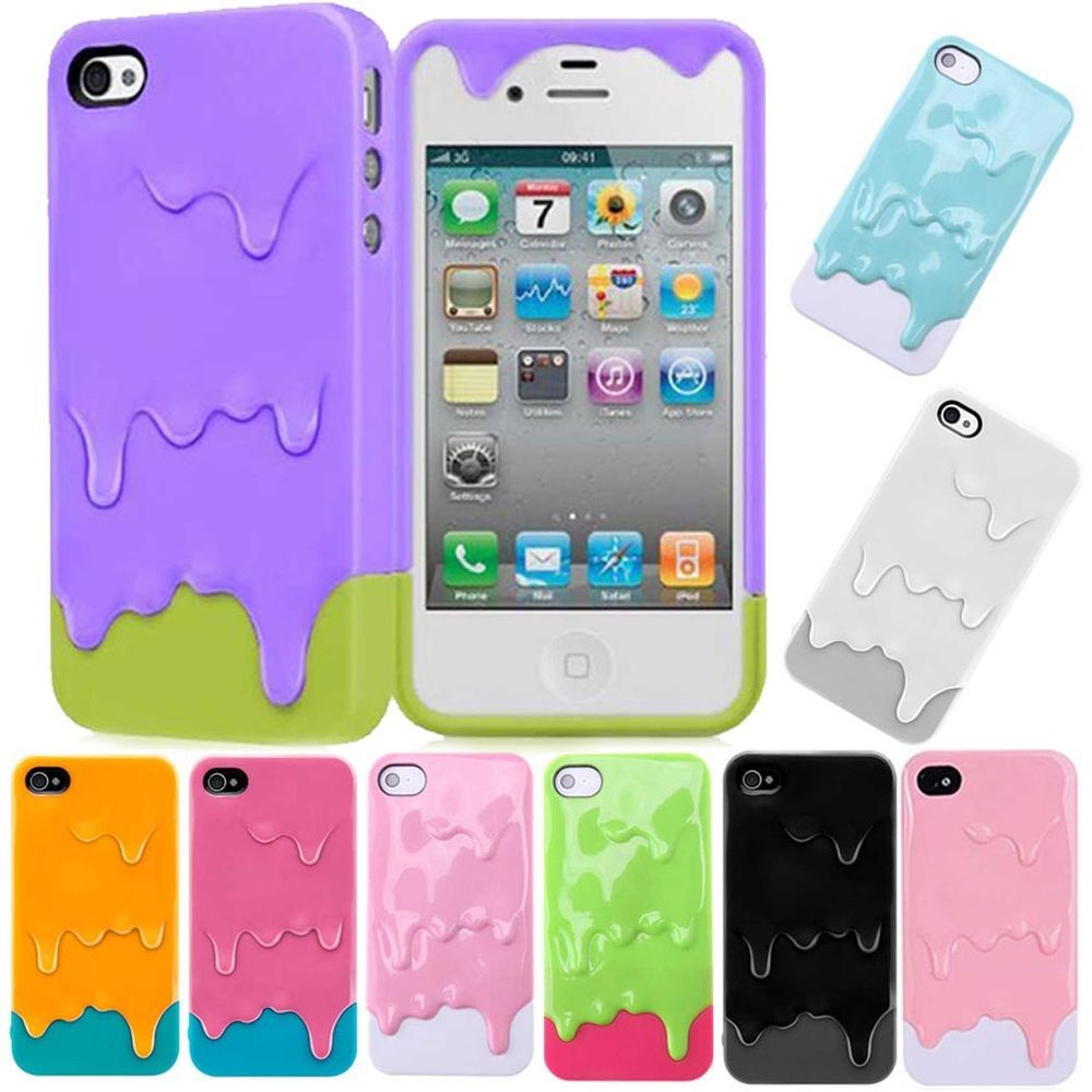 7color For Apple iPhone 4 4S 3D Melt Ice-Cream Hard Case Cover Skin Protect