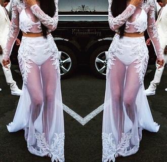 dress maxi skirt lace dress white dress maxi dress fashion style beautiful clothes skirt sheer design