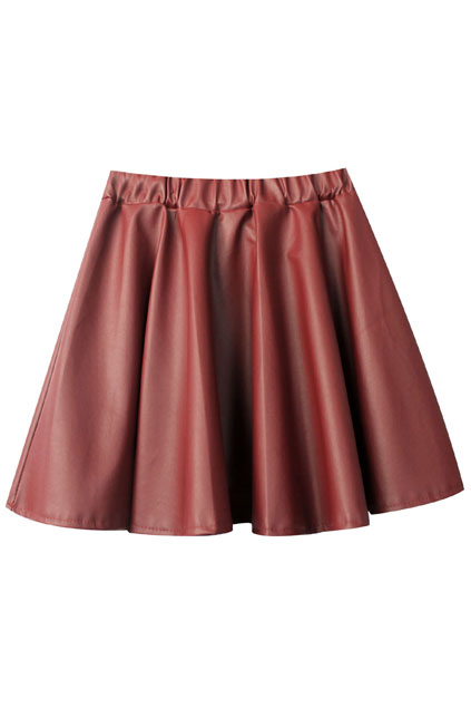 ROMWE | Fake Leather Puff Red Skirt, The Latest Street Fashion