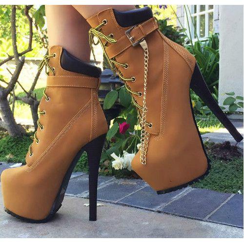 Lace Up Platform Bootie Stiletto Heels