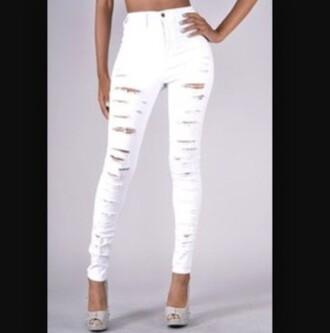 jeans white jeans cut jeans denim