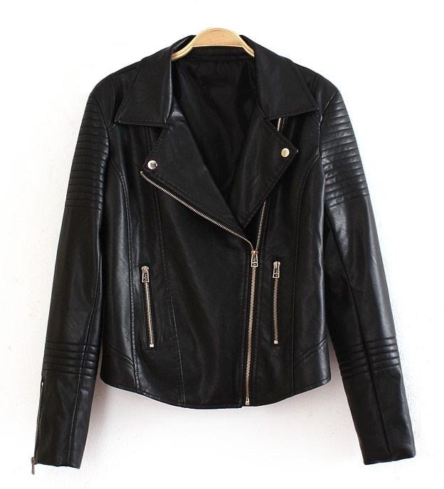 Black Faux Leather Lapel Zip Decor Moto Jacket