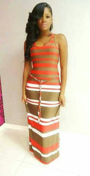 dress maxi dress long dress short sleeve dress striped bress brown tan striped dress summer summer dress summer dress maxi striped dress