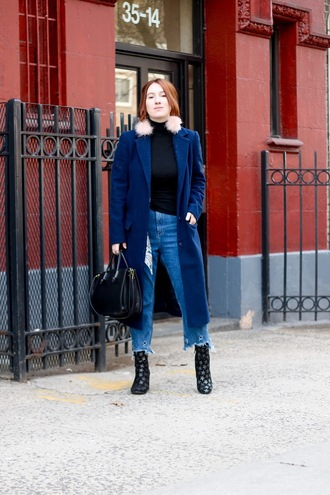 tf diaries blogger jewels jeans shoes sweater bag winter outfits blue coat handbag
