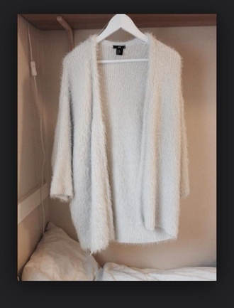 cardigan white fluffy