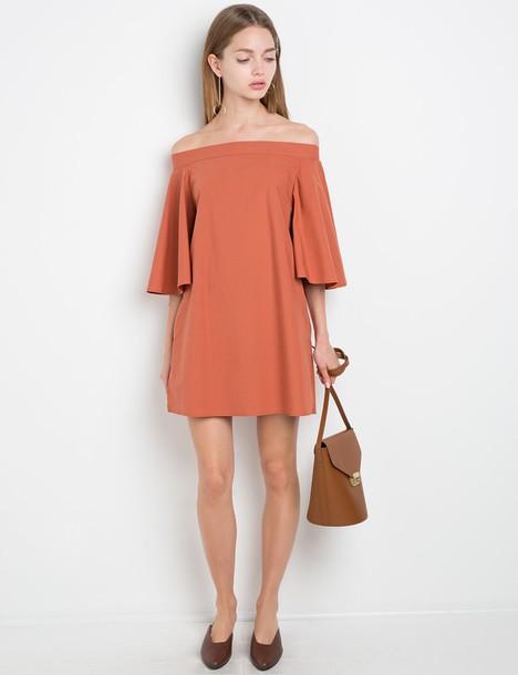 f42c5ec67d4e dress rust off the shoulder dress off the shoulder dress bell sleeve off  the shoulder dress